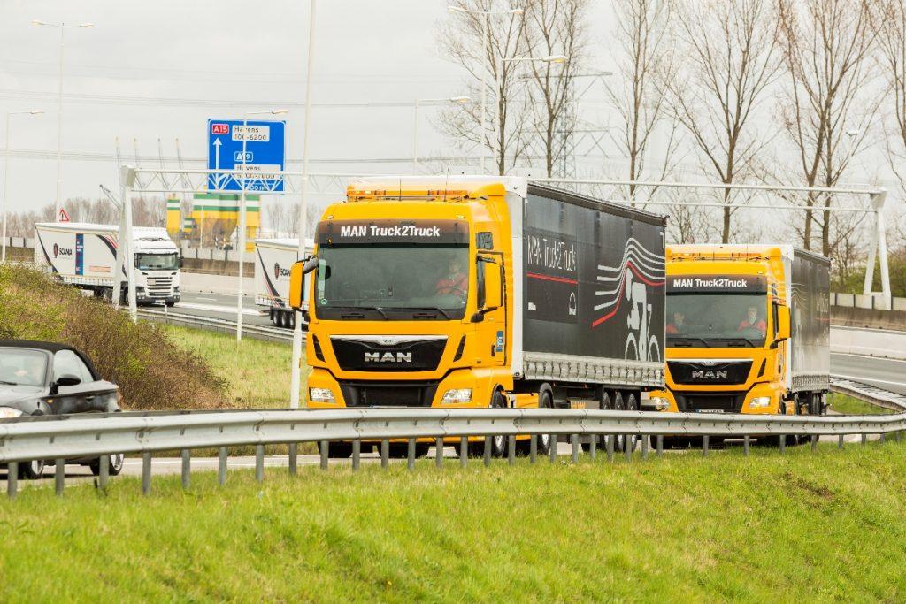 Maasvlakte, 06 april 2016. Aankomst van zes truck platoons die meegedaan hebben aan de Eu Truck Platooning Challenge. Deze aankomst zal bijgewoond worden door de Minister van Infrastructuur en Milieu, Melanie Schultz van Haegen